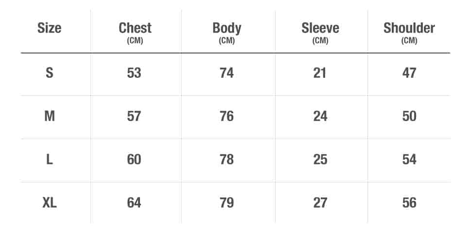 Size Chart For Tshirt [final]
