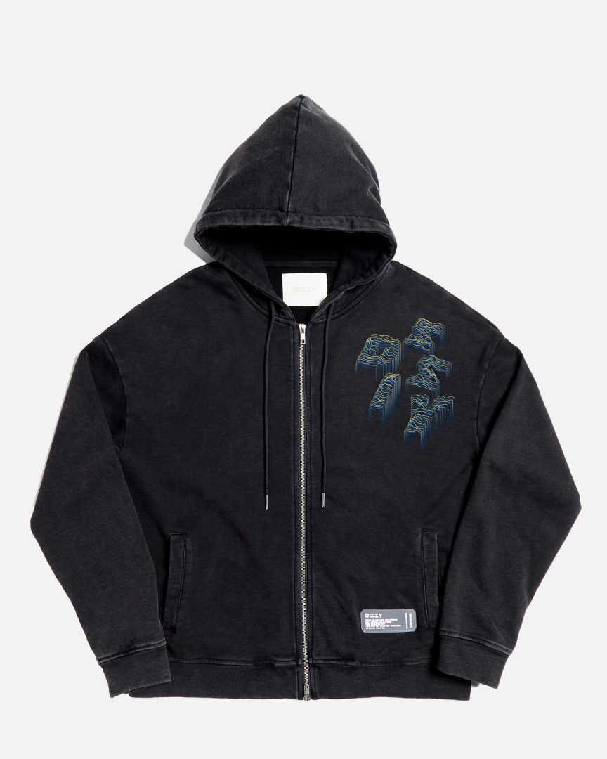 360 stone washed landscape outline zipped hoodie black 01