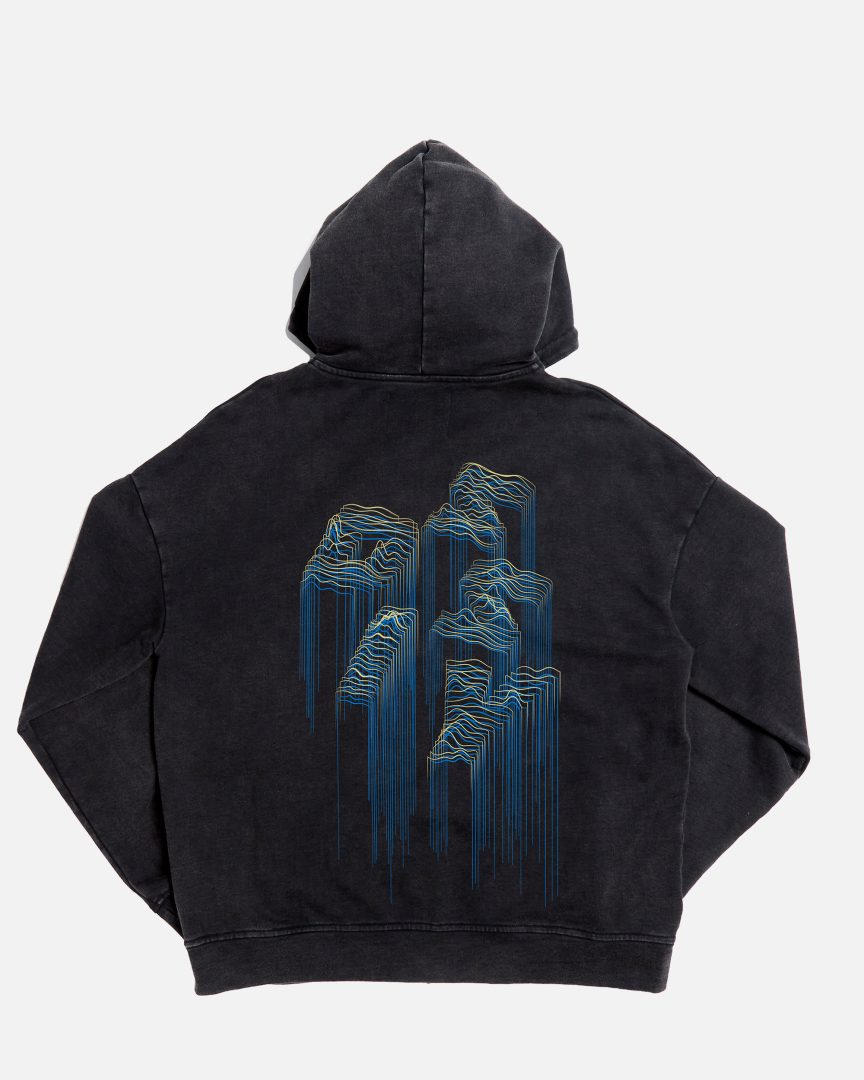 360 stone washed landscape outline zipped hoodie black 02